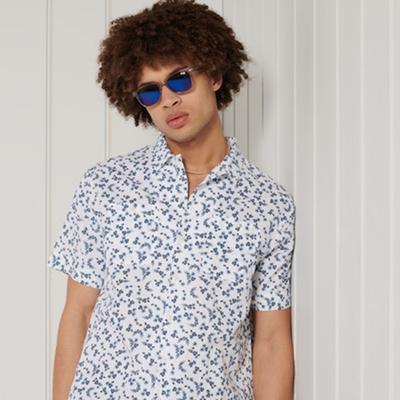 SUPERDRY 男裝 短袖襯衫 BEACH Micro 白