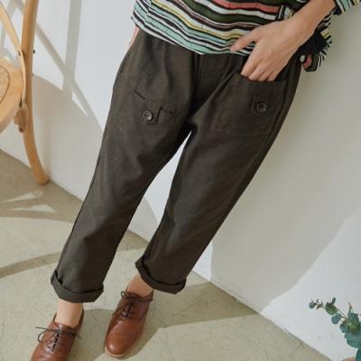 慢 生活 立體拼接彈性面料蘿蔔褲- 深橄欖