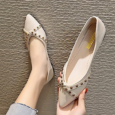 KEITH-WILL時尚鞋館 瘋搶簡單有型平底鞋-米色