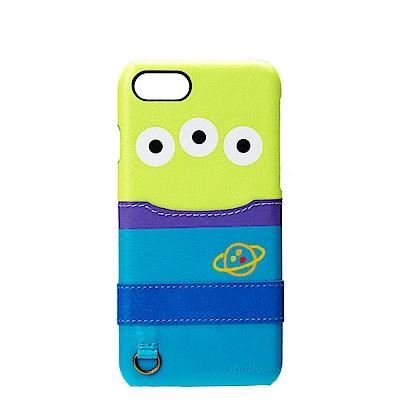 iPhone 8/7 海外限定 迪士尼 皮革插卡口袋 手機硬殼 4.7吋-三眼怪