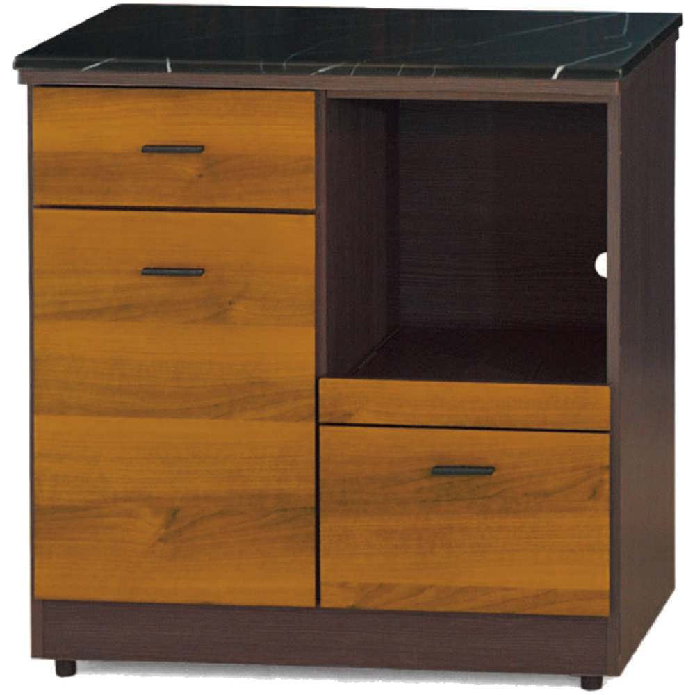綠活居 艾多尼雙色2.7尺雲紋石面餐櫃/收納櫃-80.5x46x83cm免組