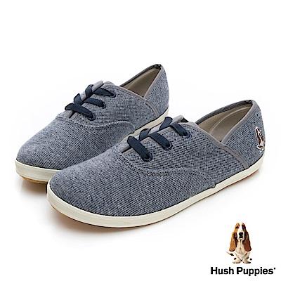 Hush Puppies 粉彩羅紋咖啡紗帆布鞋-藍色