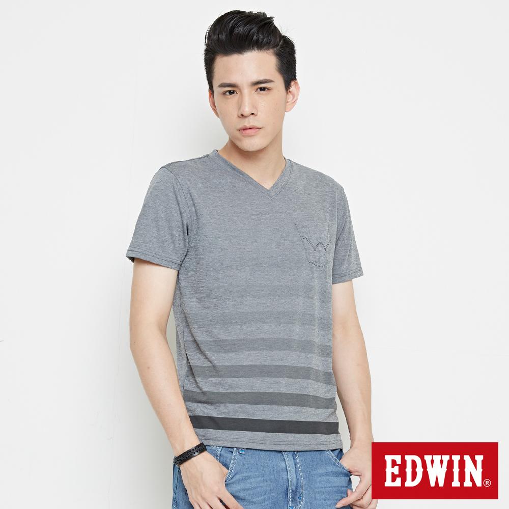 EDWIN 涼感V領條紋短袖T恤-男-麻灰