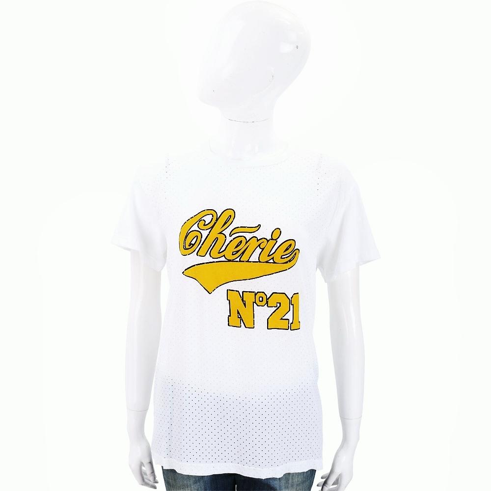 N° 21 字母LOGO白色洞洞棉質T恤 @ Y!購物