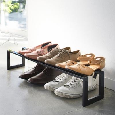 日本 YAMAZAKI-LINE伸縮式鞋架(黑)★日本百年品牌★居家收納/玄關/鞋架