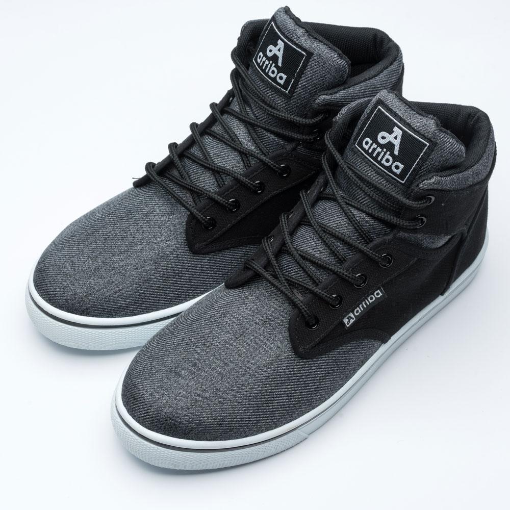 ARRIBA艾樂跑男鞋-素色拼接高筒休閒鞋-灰/黑(FA524) product image 1