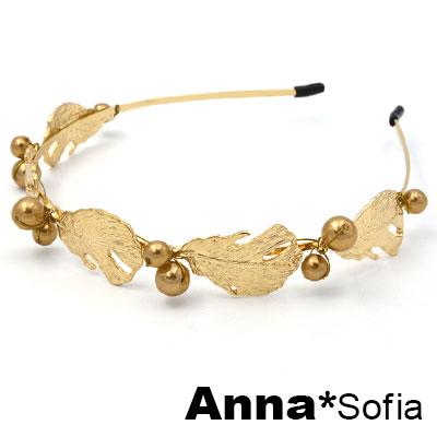 AnnaSofia 羽毛金銅果實桂冠 韓式細髮箍(金系)