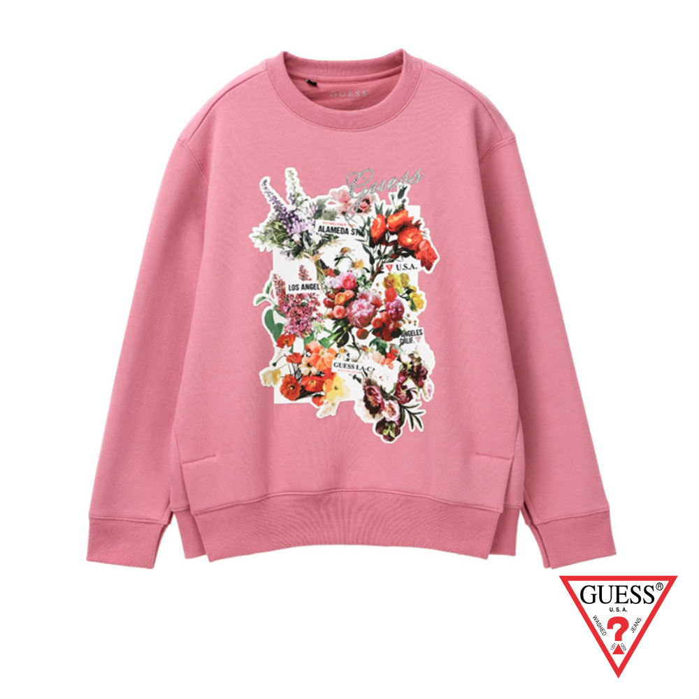 GUESS-女裝-花卉印圖長袖上衣-粉紅 原價4490