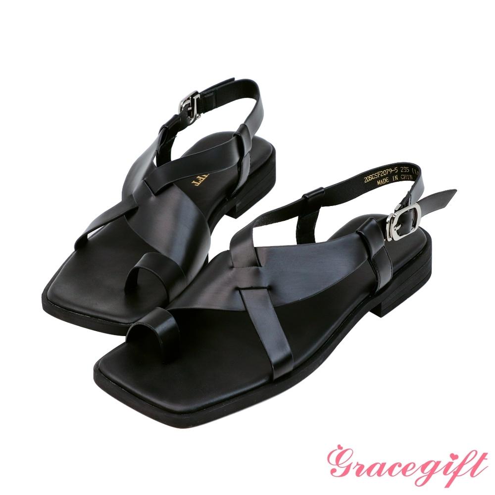Grace gift-中性交叉套趾低跟涼鞋 黑