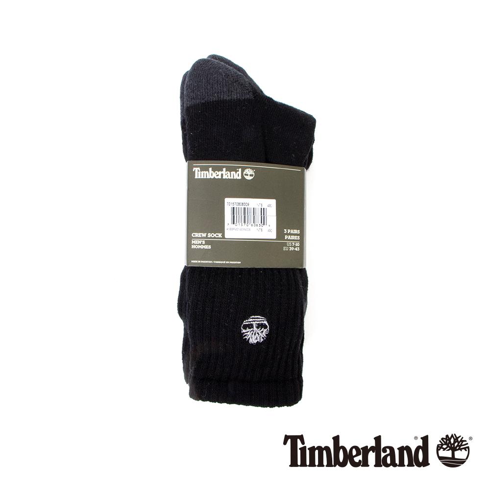Timberland 男款黑色排汗休閒半筒襪(3入組)