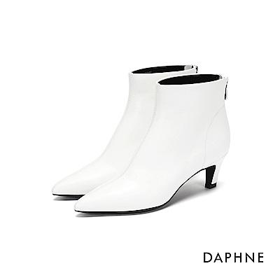 達芙妮DAPHNE 短靴-素色拼接拉鍊高跟短靴-白