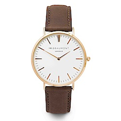 Elie Beaumont 英國時尚手錶 牛津系列 白錶盤x咖啡皮革錶帶x玫瑰金框41mm
