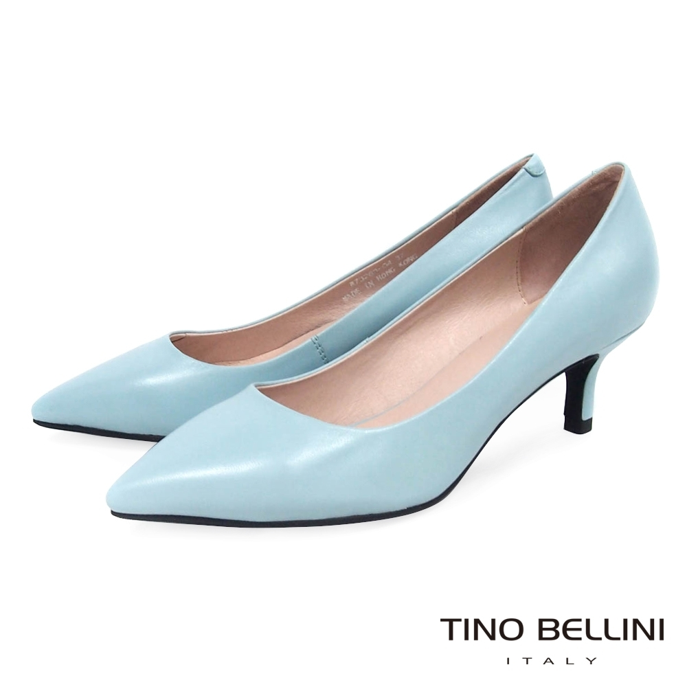 Tino Bellini 粉嫩春色全真皮跟鞋_藍