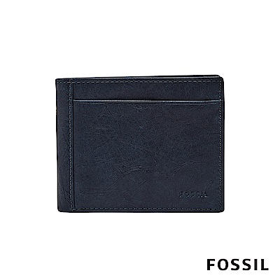 FOSSIL NEEL 真皮系列多卡兩折短夾-海軍藍