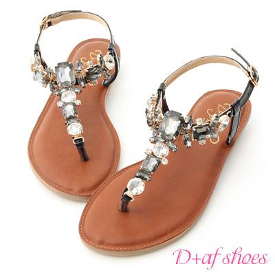 D+AF 璀璨夏日.水鑽寶石T字夾腳涼鞋*黑