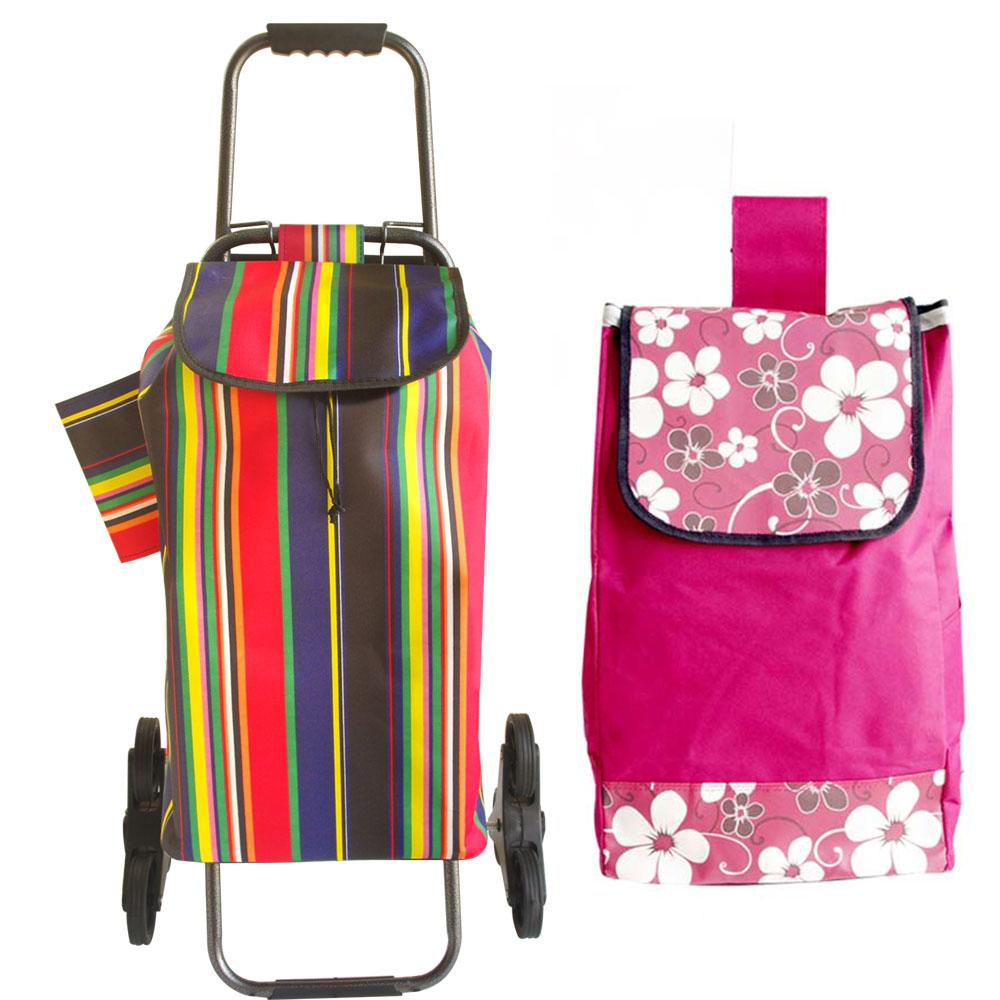 輕鬆購六輪爬樓梯購物車一組+加贈購物替換袋一個