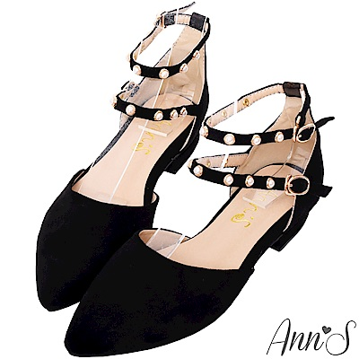 Ann'S偏執甜-珍珠雙繫帶平底尖頭鞋-黑(版型偏小)