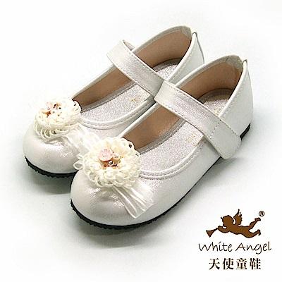 天使童鞋 歐風花園典雅公主鞋(中-大童)917-白