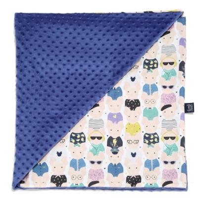 La Millou單面巧柔豆豆毯-加大-繽紛萌萌豬-地中海藍-四季毯寶寶毯嬰兒毯