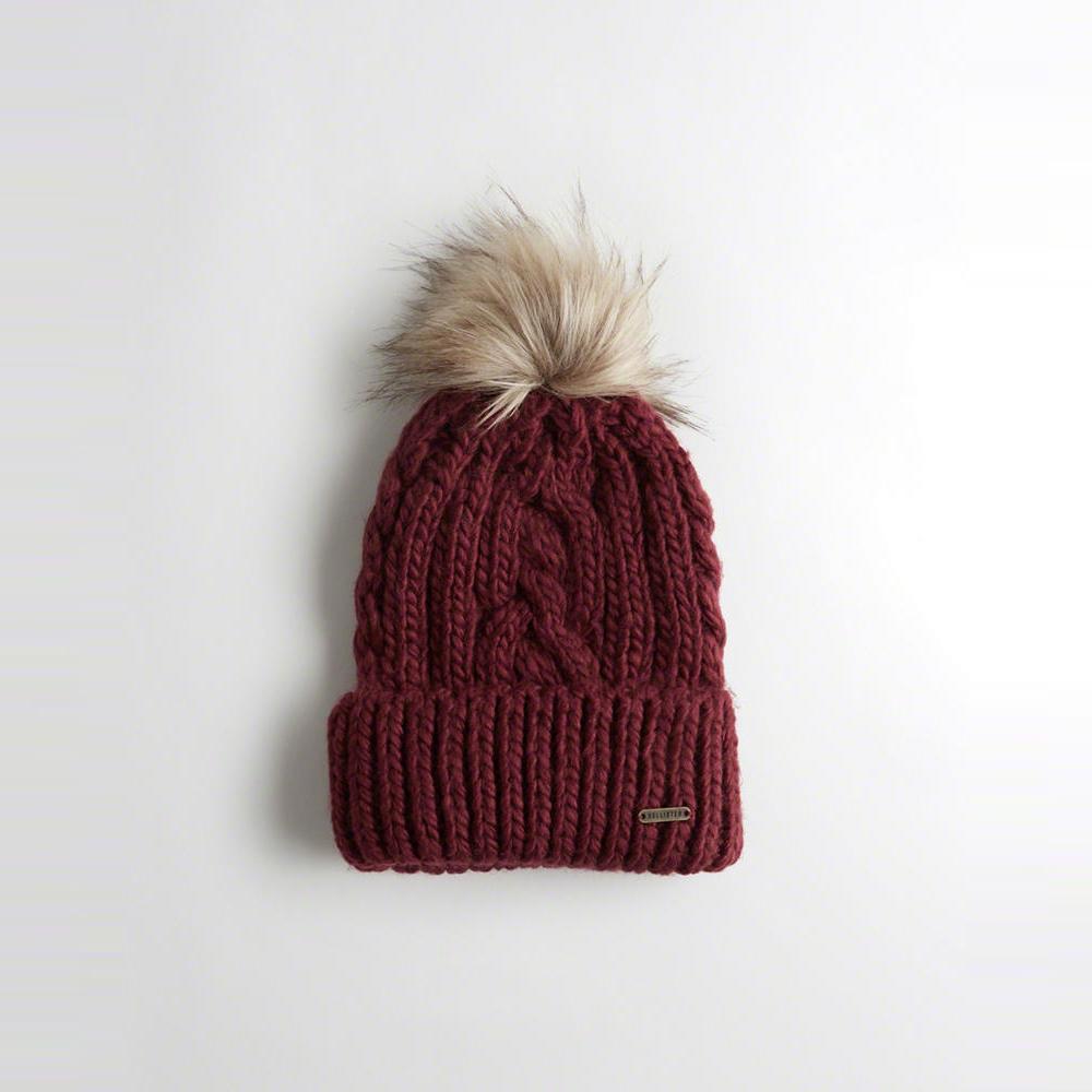 海鷗 Hollister 舒適毛毛保暖毛帽-酒紅色