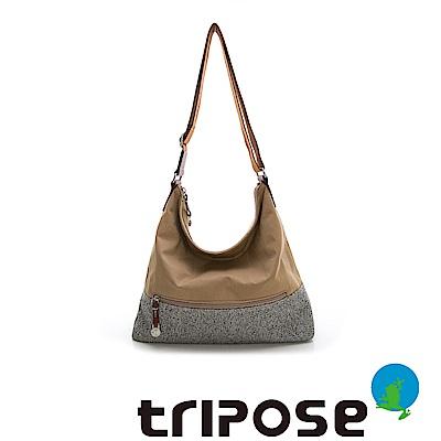 tripose 漫遊系列岩紋輕巧側肩背包 駝色