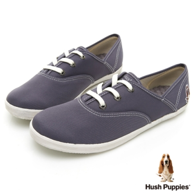 Hush Puppies 學院風基本款咖啡紗帆布鞋-深灰