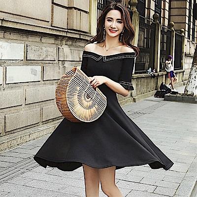 DABI 韓國風名媛氣質修身一字領顯瘦短袖洋裝