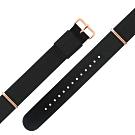 Watchband DW 各品牌通用 鍍玫瑰金不鏽鋼扣頭 尼龍錶帶-黑色