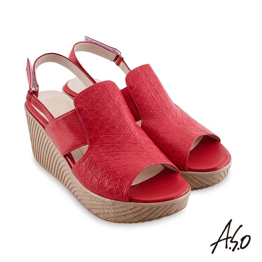 A.S.O 時尚流行 亮眼魅力飽和亮彩風格厚底涼鞋-紅