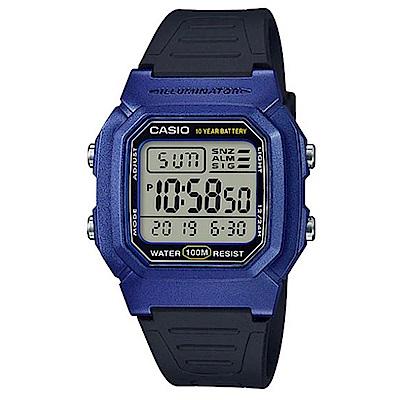 CASIO 經典簡單大表面造型數位運動休閒錶-藍框X黑(W-800HM-2)/35.7mm