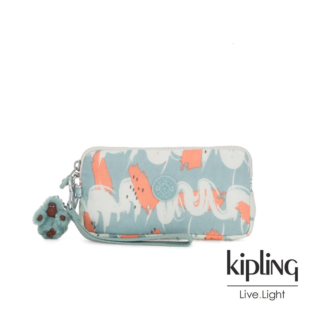 Kipling 湖水綠印象派塗鴉手拿包-LOWIE
