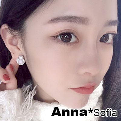 【2件399】AnnaSofia 貓眼圈珠圓墜 925銀針耳針耳環(銀系)