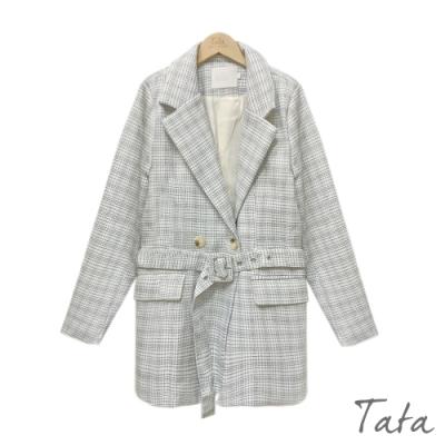 翻領格紋西裝外套(附綁帶) TATA-F