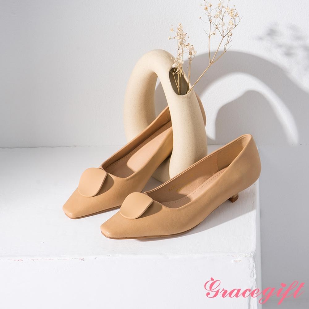 Grace gift-幾何圓片拼接低跟鞋 杏