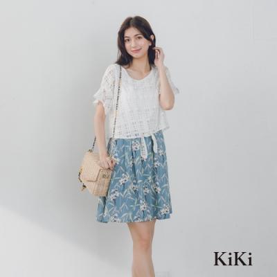 【KiKi】蕾絲綁帶小碎花-洋裝(二色)