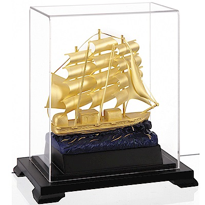 開運陶源 純金箔雕塑小櫥窗 一帆風順