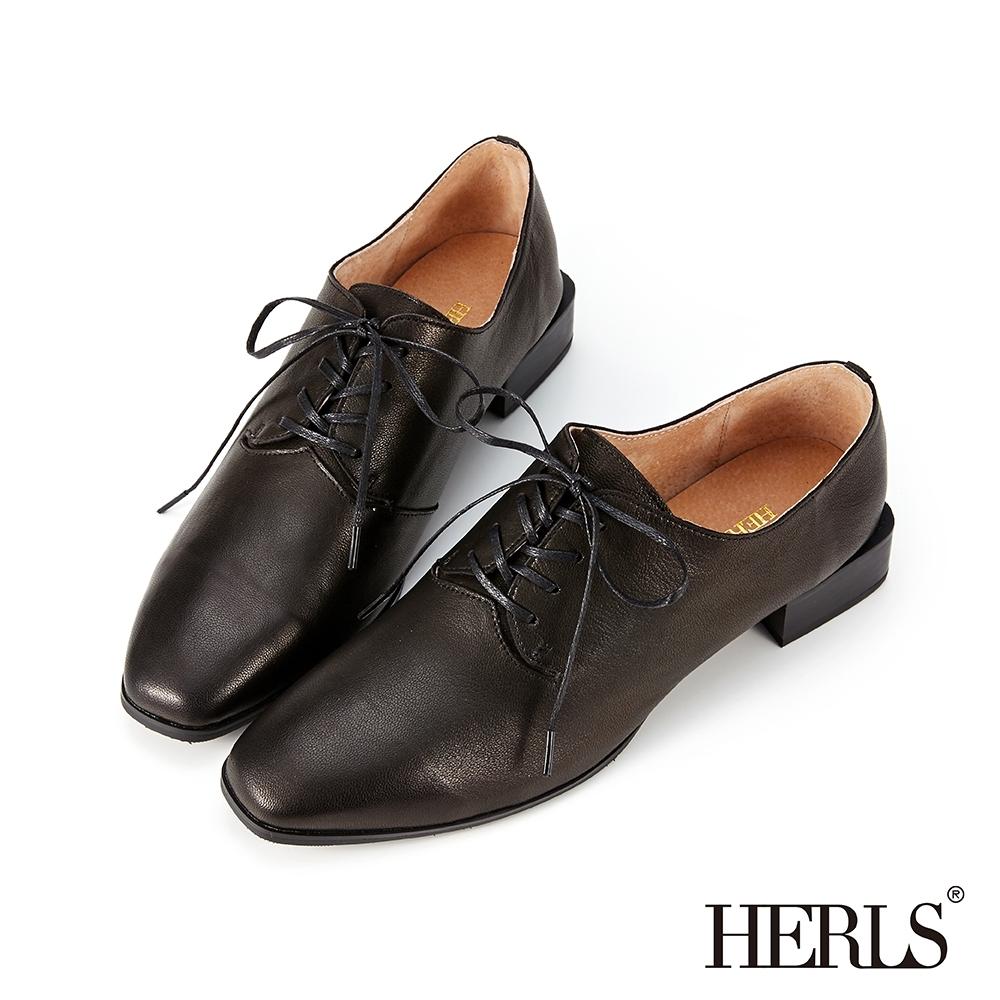 HERLS牛津鞋-全真皮扁鞋帶方頭粗低跟德比鞋牛津鞋-黑色