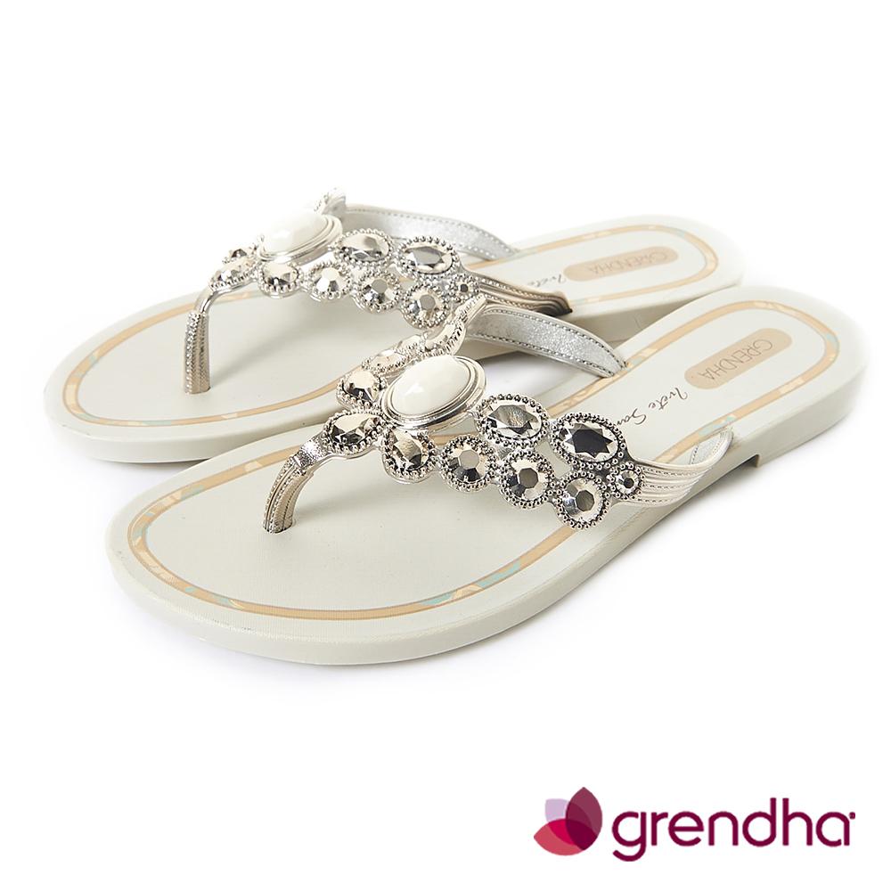 Grendha 璀璨名媛鑽飾夾腳鞋-米白
