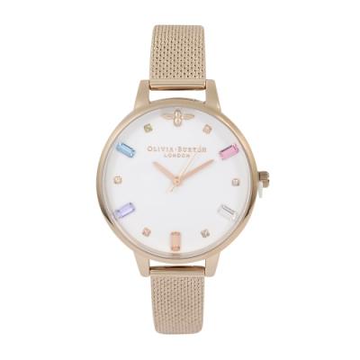 Olivia Burton 英倫復古手錶 彩虹與蜜蜂 玫瑰金米蘭錶帶錶框34mm