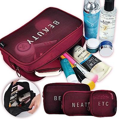 EZlife旅行化妝品收納袋三件套(贈運動睡眠耳機頭帶)