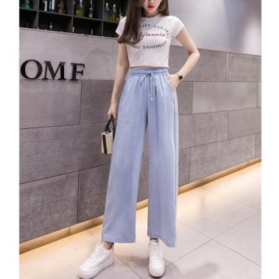 2F韓衣-簡約素色天絲棉牛仔寬褲-藍-(S-2XL)