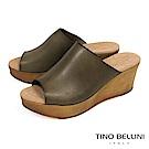 Tino Bellini 西班牙進口極簡質感原色真皮楔型涼拖鞋_ 墨綠