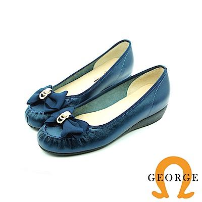 【GEORGE 喬治皮鞋】都會休閒 金屬扣蝴胡蝶結平底鞋娃娃鞋-藍