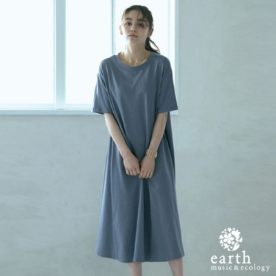 earth music 有機棉素面圓領連身洋裝