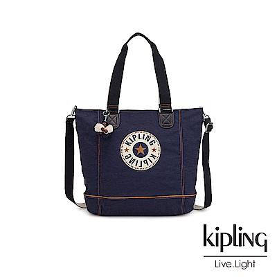 Kipling 致敬經典復古深藍手提肩背托特包-SHOPPER C