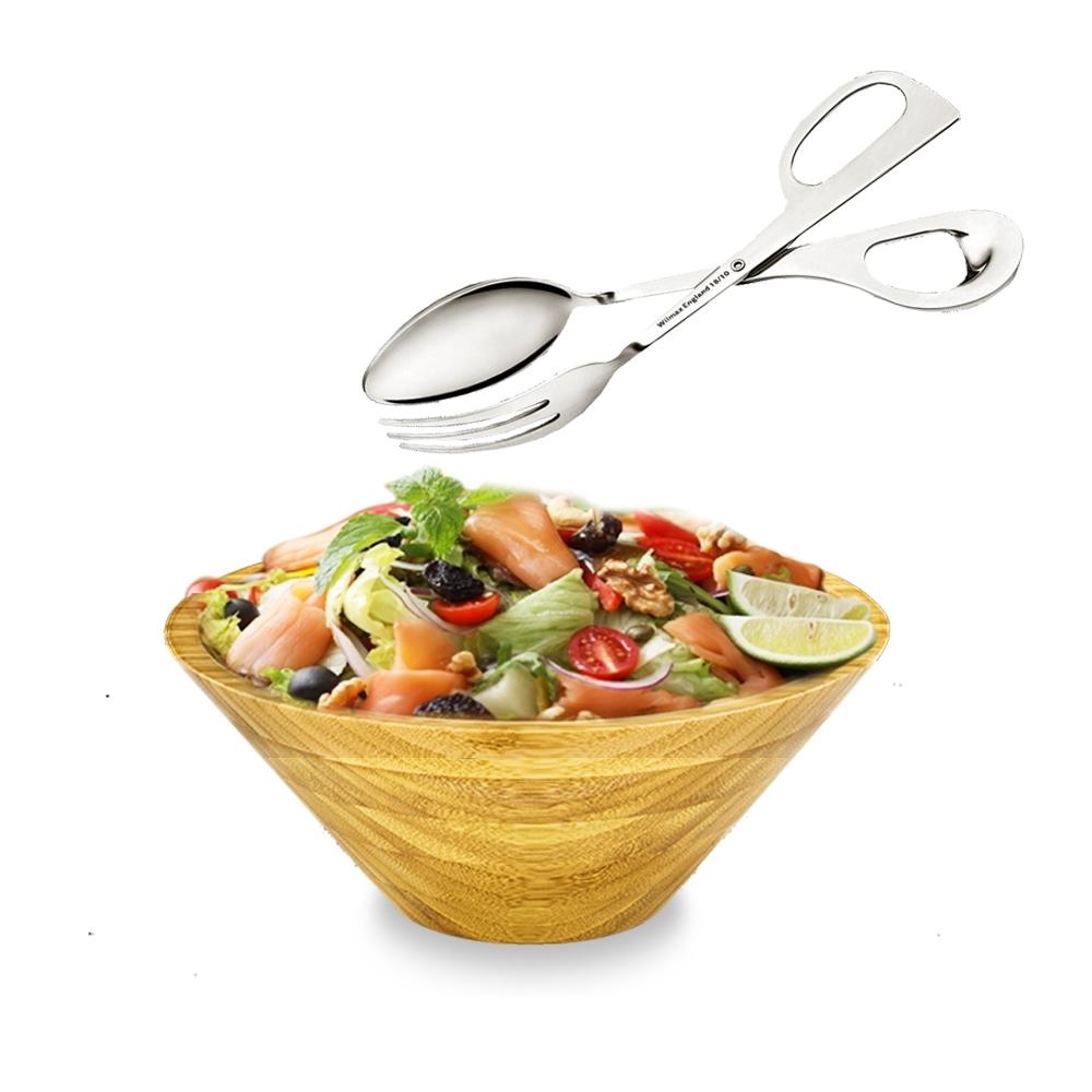 英國 WILMAX 日式簡約竹製沙拉碗1800ML附不鏽鋼沙拉夾