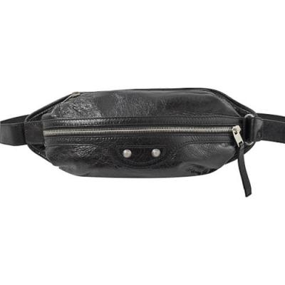 [時時樂限定] Balenciaga 巴黎世家霧銀鉚釘小羊皮三用胸口包/腰包(黑)