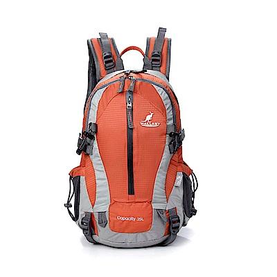 WALLABY 袋鼠牌 戶外旅行 登山包 雙肩包 尼龍 防水運動背包 【橘色 25L】