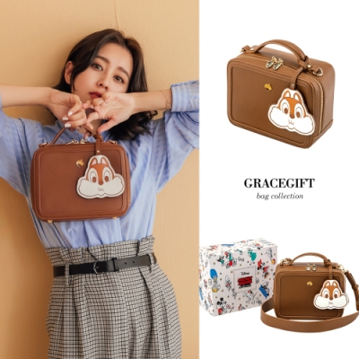 Disney collection by gracegift奇蒂鑰匙吊飾造型方包 棕