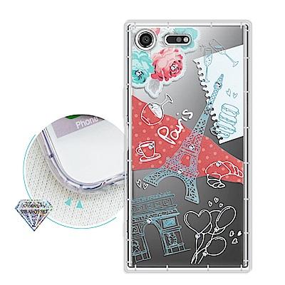 浪漫彩繪 SONY Xperia XZ Premium 水鑽空壓氣墊手機殼(巴黎鐵塔)